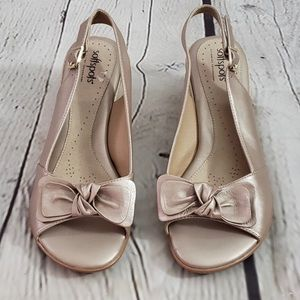 Softspots Wide Leather Bow Peep Toe Wedges